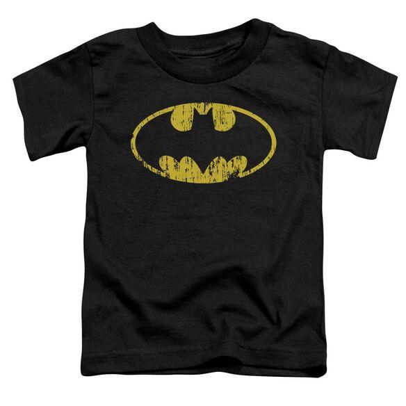 Batman Classic Logo Distressed Short Sleeve Toddler Tee Black Lg T-Shirt