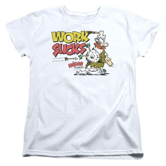 Hagar The Horrible Work Sucks Short Sleeve Womens Tee T-Shirt
