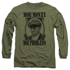Three Stooges Moe Money Long Sleeve Adult Military T-Shirt