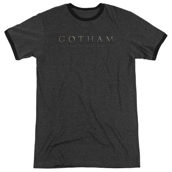 Gotham Logo Adult Heather Ringer Charcoal