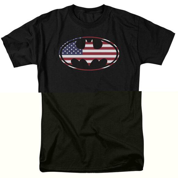 BATMAN AMERICAN FLAG OVAL - S/S ADULT 18/1 - BLACK T-Shirt