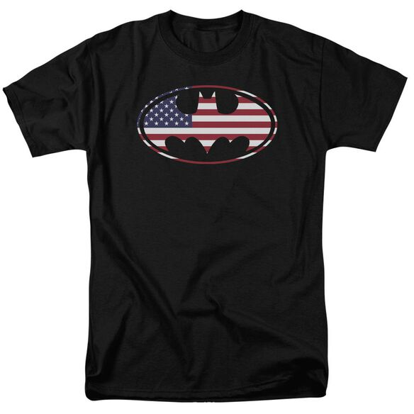 Batman American Flag Oval Short Sleeve Adult T-Shirt