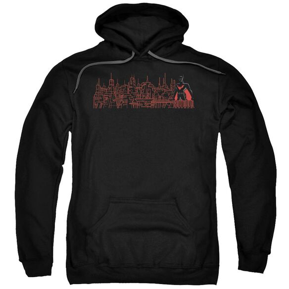 Batman Beyond Neo Gotham Skyline Adult Pull Over Hoodie