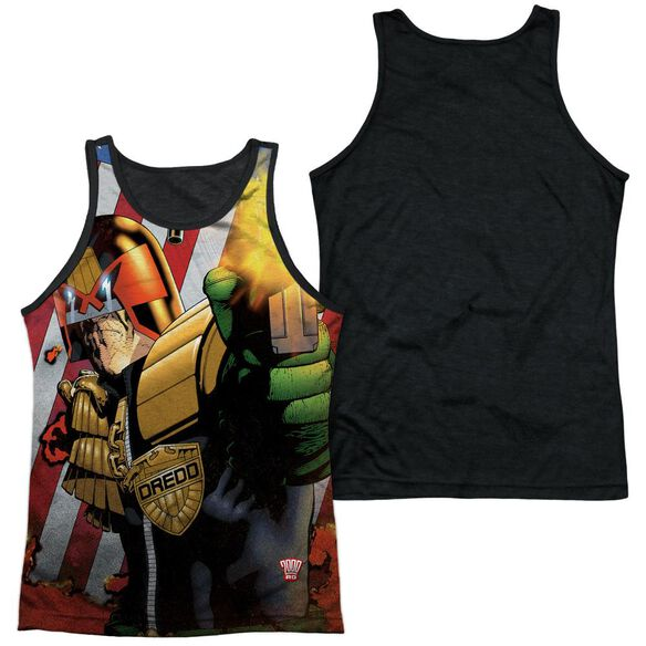 Judge Dredd Democracy Adult Poly Tank Top Black Back