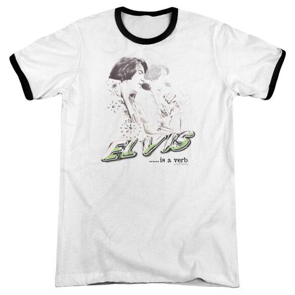 Elvis Elvis Is A Verb Adult Ringer White Black