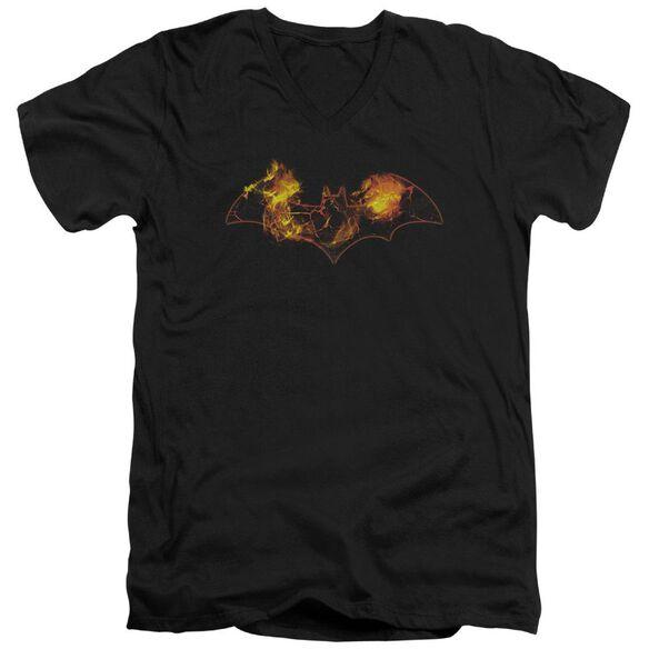 BATMAN MOLTEN LOGO - S/S ADULT V-NECK - BLACK T-Shirt