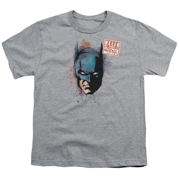 Batman Hello Short Sleeve Youth Athletic T-Shirt