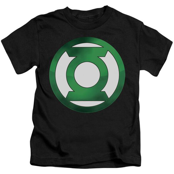 Green Lantern Green Chrome Logo Short Sleeve Juvenile Black T-Shirt