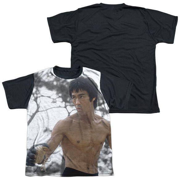 Bruce Lee Battle Ready Short Sleeve Youth Front Black Back T-Shirt