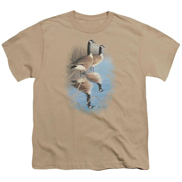 Wildlife Morning Reflections Canada Geese Short Sleeve Youth T-Shirt