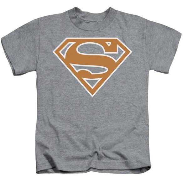 Superman Burnt Orange&White Shield Short Sleeve Juvenile Athletic T-Shirt
