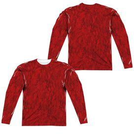 Sesame Street Elmo Costume (Front Back Print) Long Sleeve Adult Poly Crew T-Shirt