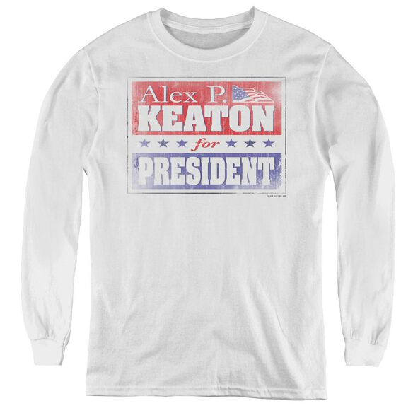 Family Ties Alex For President - Youth Long Sleeve Tee - White