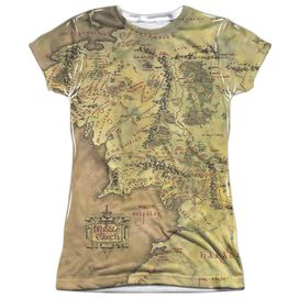 Lor Middle Earth Map Short Sleeve Junior Poly Crew T-Shirt