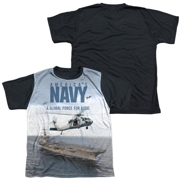 Navy Over And Under Short Sleeve Youth Front Black Back T-Shirt