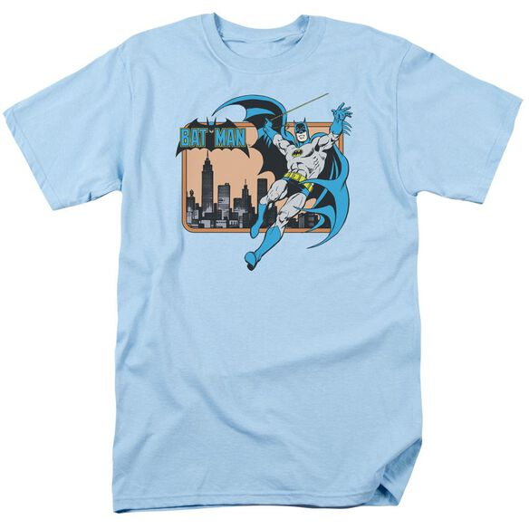 Dc Batman In The City Short Sleeve Adult Light Blue T-Shirt