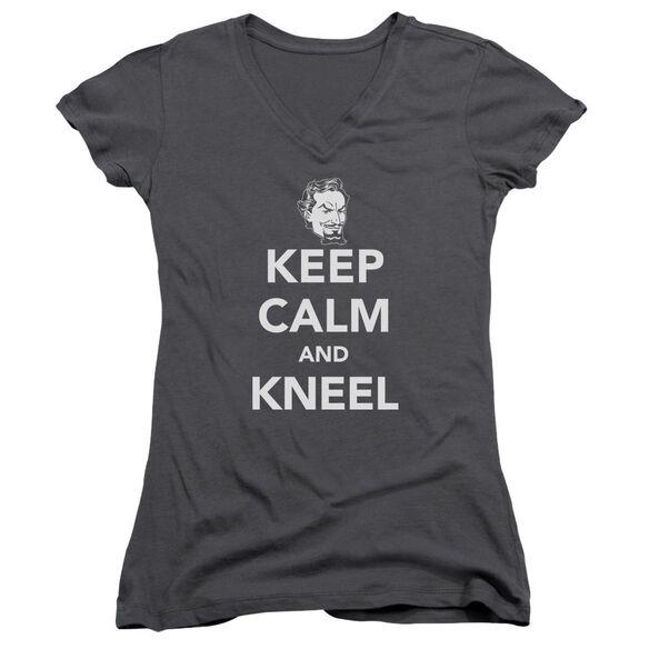 Dc Keep Calm And Kneel Junior V Neck T-Shirt