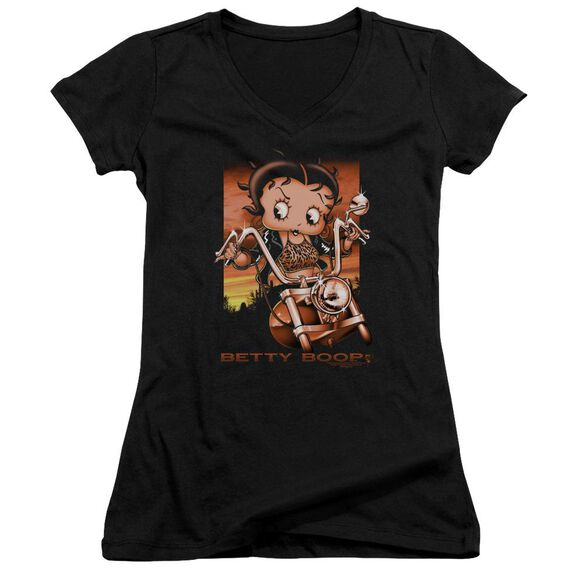 Betty Boop Sunset Rider Junior V Neck T-Shirt