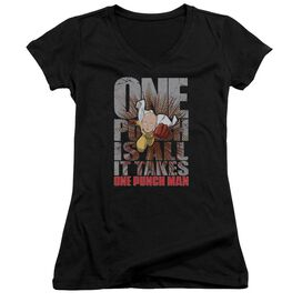 One Punch Man One Punch Is All It Takes Junior V Neck T-Shirt