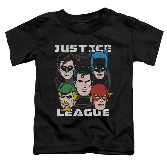 Jla Head Of States Short Sleeve Toddler Tee Black T-Shirt