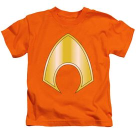 Jla Aquaman Logo Short Sleeve Juvenile Orange T-Shirt