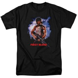 Rambo:First Blood Poster Short Sleeve Adult Black T-Shirt