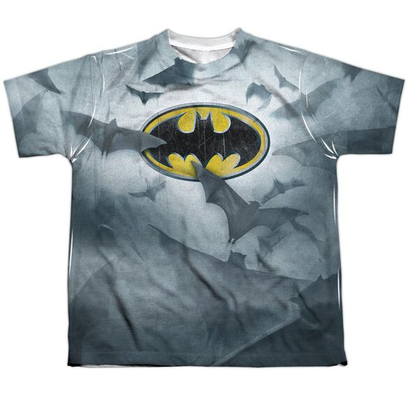 Batman Bats Logo Short Sleeve Youth Poly Crew T-Shirt