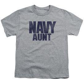 Navy Aunt Short Sleeve Youth Athletic T-Shirt