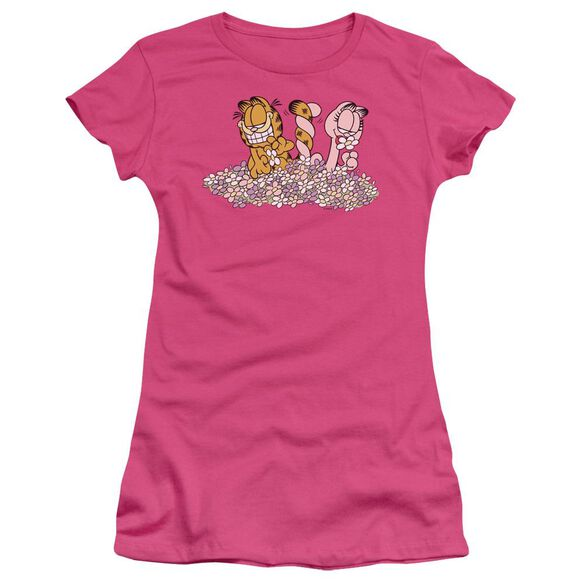 GARFIELD CHICKS DIG FLOWERS - S/S JUNIOR SHEER - HOT PINK T-Shirt