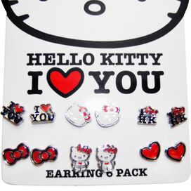 Hello Kitty Love 6 Pair Stud Earrings Set
