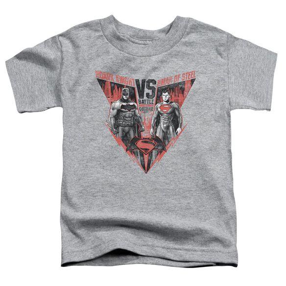 Batman V Superman Batlle For Gotham Short Sleeve Toddler Tee Athletic Heather T-Shirt