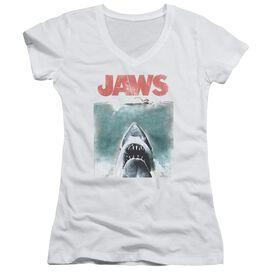 Jaws Vintage Poster Junior V Neck T-Shirt