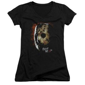 Friday The 13 Th Mask Of Death Junior V Neck T-Shirt