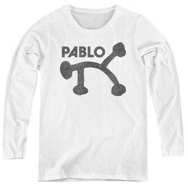 PABLO RETRO PABLO - WOMENS LONG SLEEVE TEE - WHITE