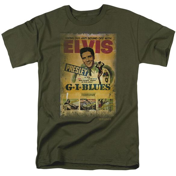 Elvis Gi Blues Poster Short Sleeve Adult Military Green T-Shirt