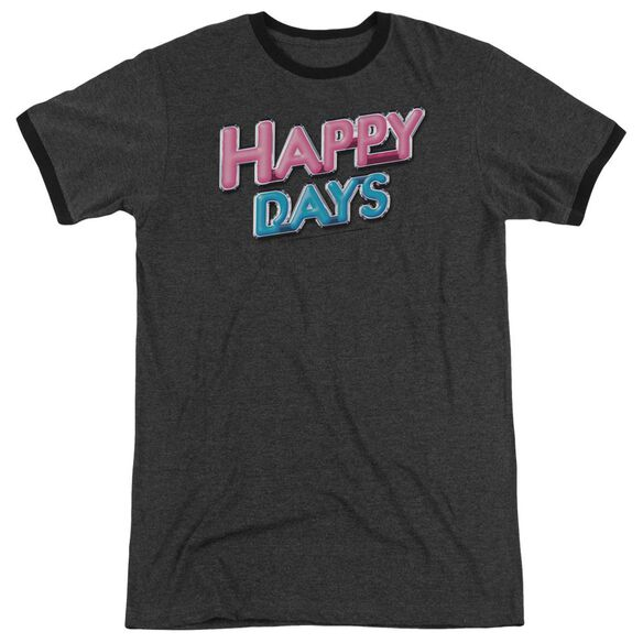 Happy Days Happy Days Logo Adult Heather Ringer Charcoal