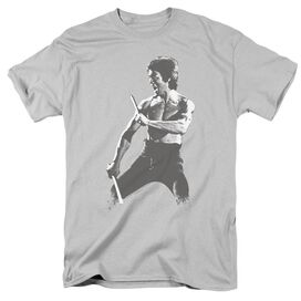 Bruce Lee Chinese Characters Short Sleeve Adult Silver T-Shirt