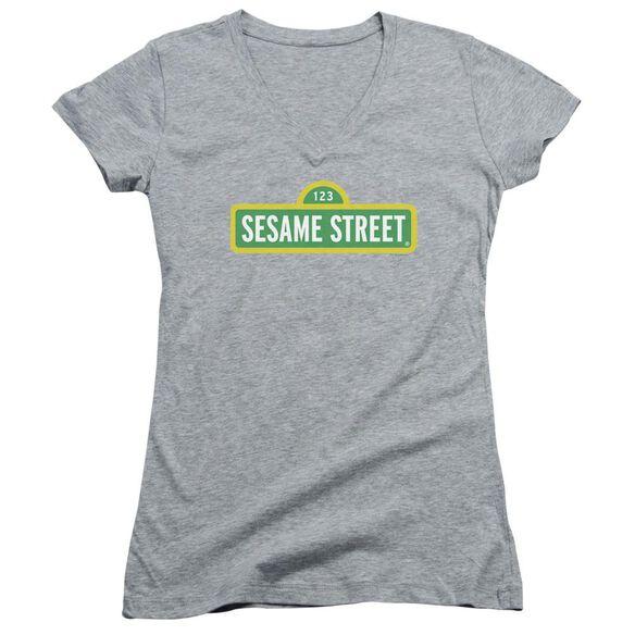 Sesame Street Logo Junior V Neck Athletic T-Shirt