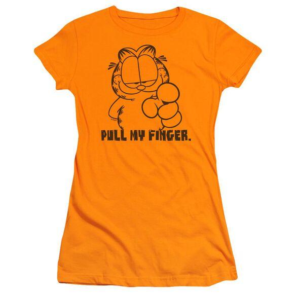 Garfield Pull My Finger Short Sleeve Junior Sheer T-Shirt
