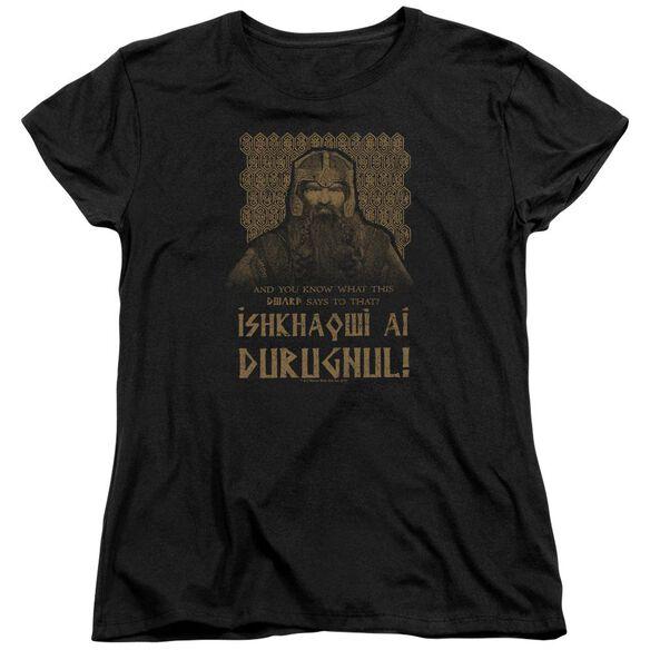 Lord Of The Rings Ishkhaqwi Durugnul Short Sleeve Womens Tee T-Shirt