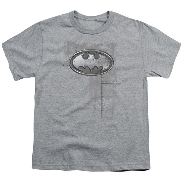 Batman Rivited Metal Logo Short Sleeve Youth Athletic T-Shirt