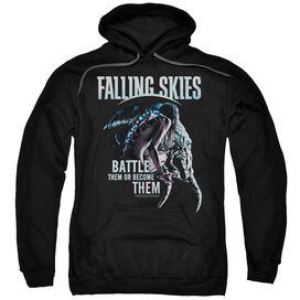 Falling Skies Battle Or Become Adult Pull Over Hoodie Black