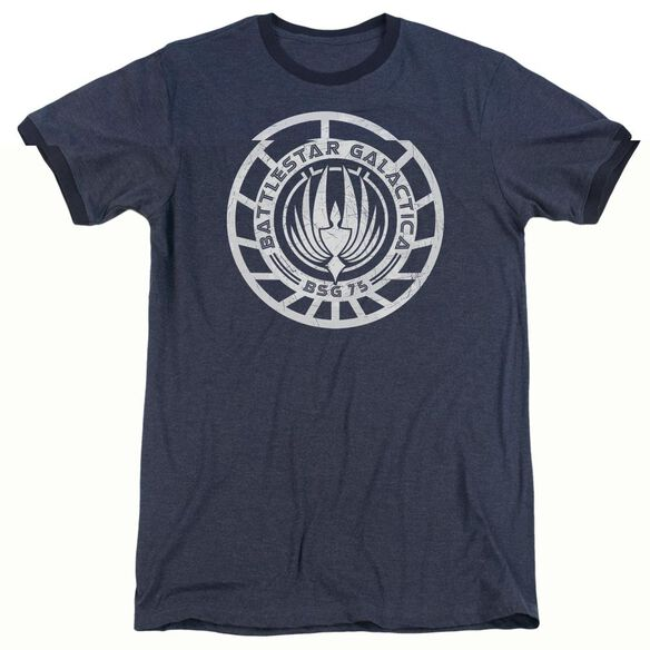 Bsg Scratched Bsg Logo - Adult Heather Ringer - Navy