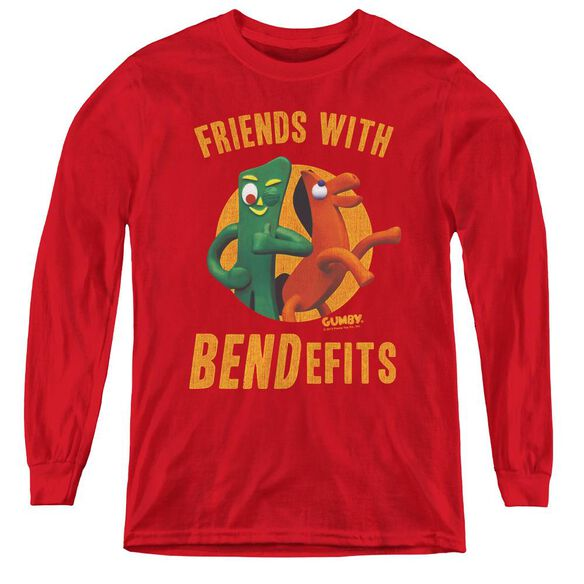 Gumby Bendefits - Youth Long Sleeve Tee - Red