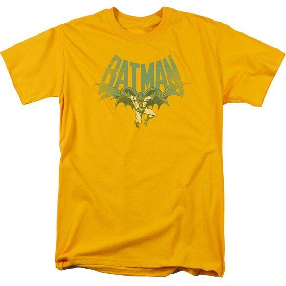 Dc Flying Bat Short Sleeve Adult Gold T-Shirt