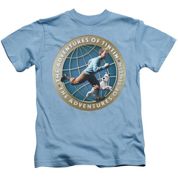 Tintin Around The Globe Short Sleeve Juvenile Carolina Blue T-Shirt