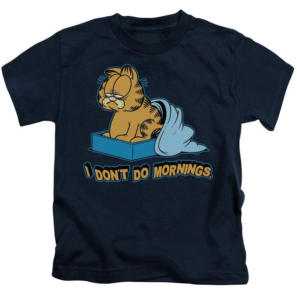 Garfield I Don't Do Mornings Short Sleeve Juvenile Navy T-Shirt