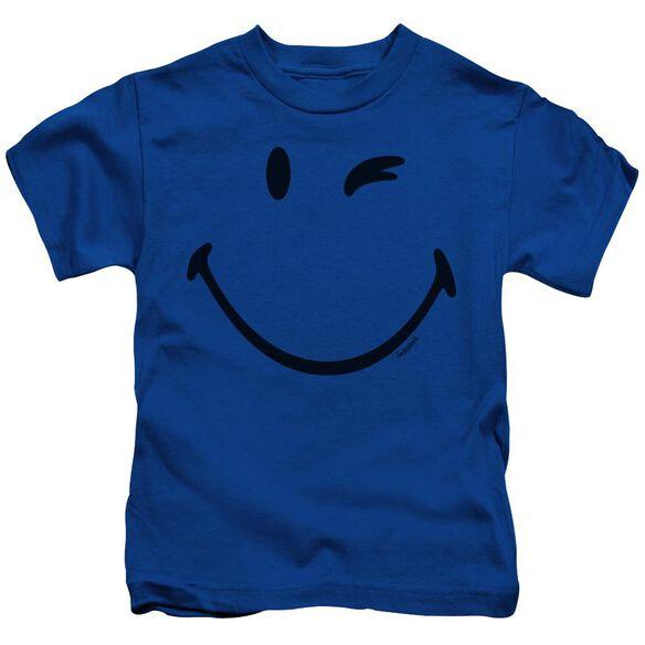 Smiley World Big Wink Short Sleeve Juvenile Royal T-Shirt