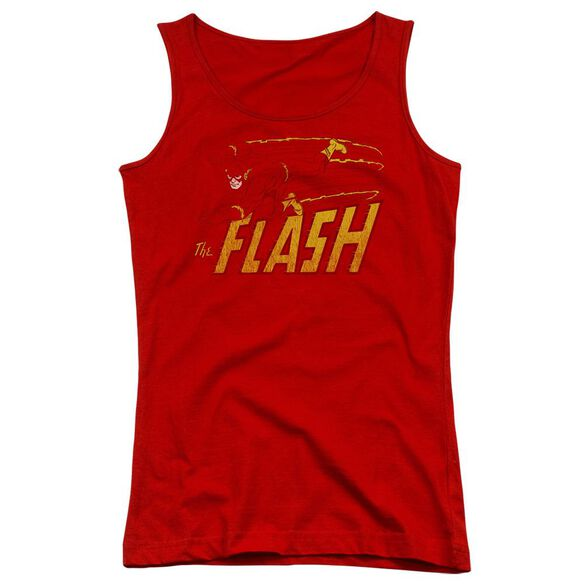 Dc Flash Flash Speed Distressed - Juniors Tank Top - Red