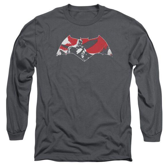Batman V Superman Armor Splatter Logo Long Sleeve Adult T-Shirt